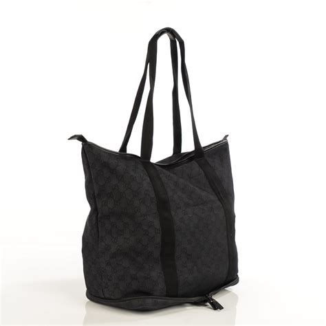 Gucci Travel Tote by Gucci Denim Monogram Large Collapsible Travel Tote Black