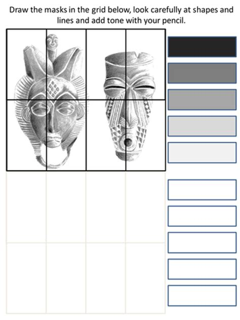Ideal Mask Sheet tonal mask worksheet by rnd86 teaching resources