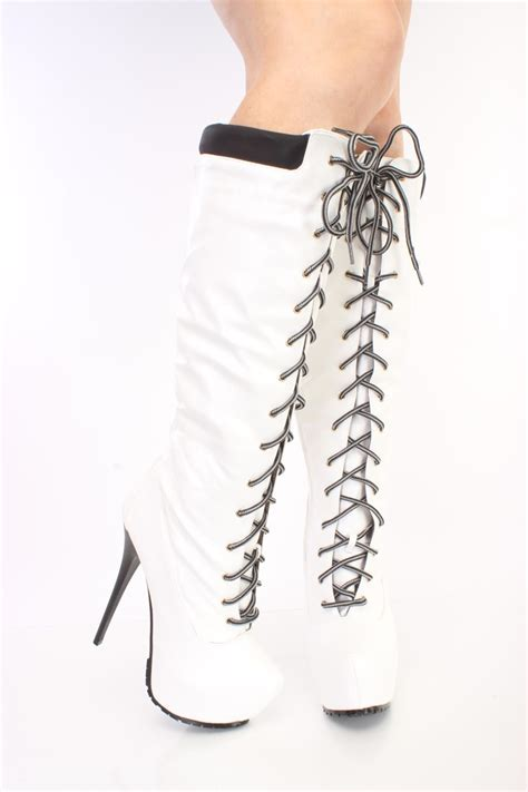 white lace up high heel boots white lace up 6 inch stiletto high heel boots faux leather