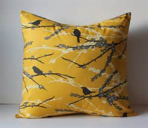 mustard color pillows decorative pillows cushion cover mustard yellow gray birds