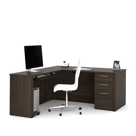 nice l computer desk on bestar embassy l shape computer bestar embassy 66 quot l desk in dark chocolate 60852 79