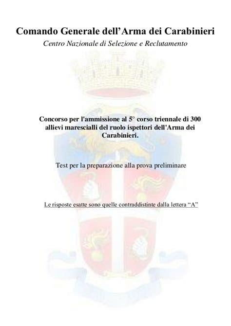 dati marescialli carabinieri concorso allievi marescialli carabinieri dati prova