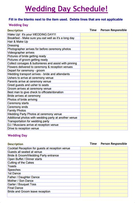 wedding day schedule template wedding schedule templates 29 free word excel pdf