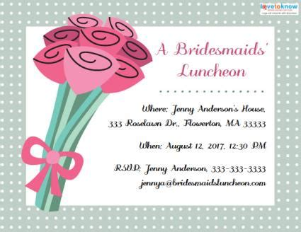 Bridesmaids Luncheon Invitations Lovetoknow Bridesmaid Luncheon Invitations Template