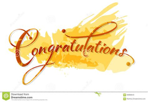 Congratulations Calligraphy Stock Vector Image 60868643