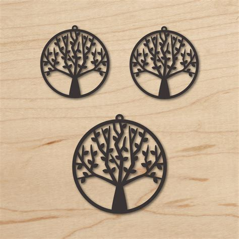 Tree Earrings Pendant Vector Template Tree Laser Cut Laser Cut L Template