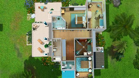 house layout sims 4 simply ruthless turquoise bay modern