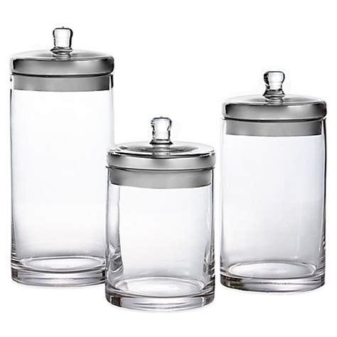 3 Piece Kitchen Canister Set Fifth Avenue 3 Piece Glass Canister Set Bed Bath Amp Beyond