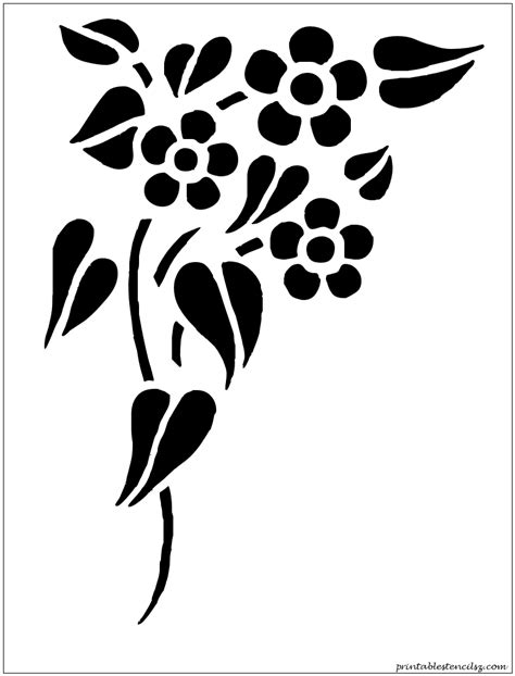flower stencil template flowers printable stencils silhouettes