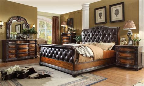 tufted bedroom set 4 alexandria b9501 leather tufted sleigh bedroom set