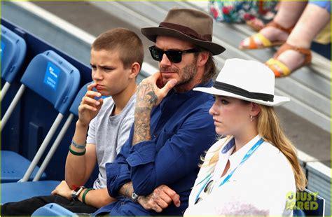 romeo beckham nadal david beckham watches a tennis match with son romeo