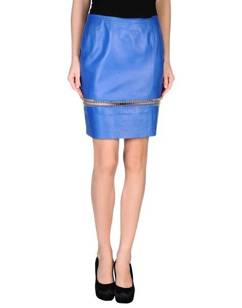 particulier blue knee length skirt lyst