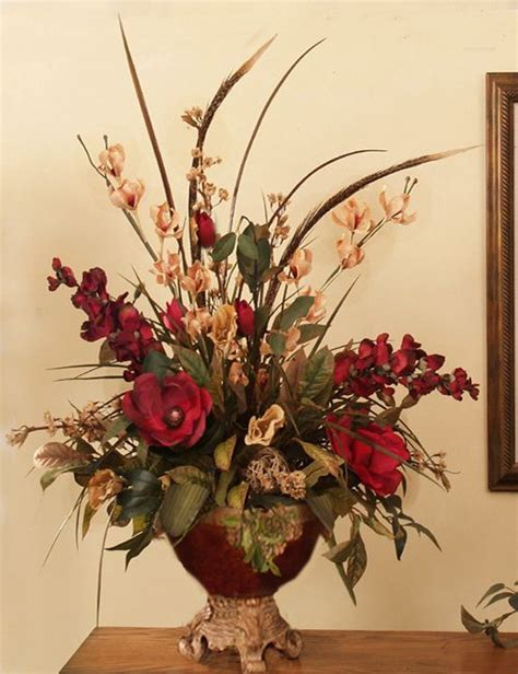 silk arrangements for home decor 2 orchids pheasant feathers artificial silk flower