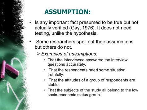 exle of assumption in research paper assumptions scope and limitations