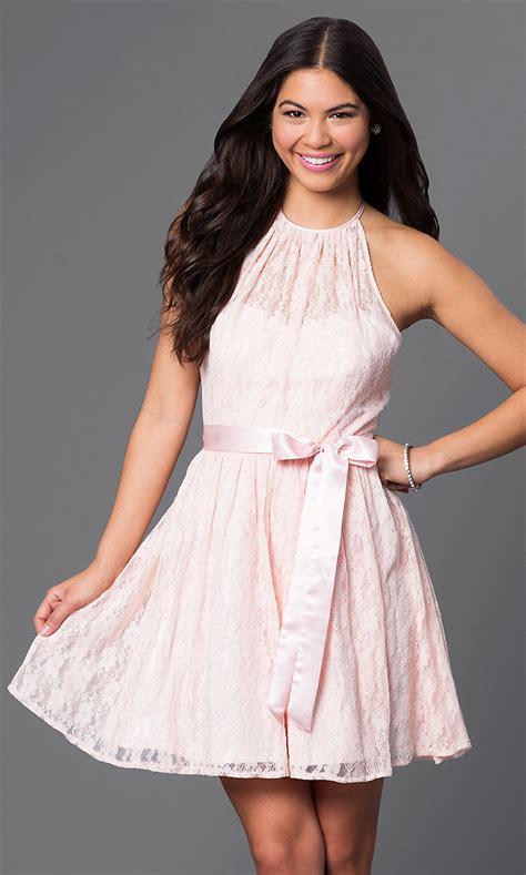 short backless pink lace halter dress