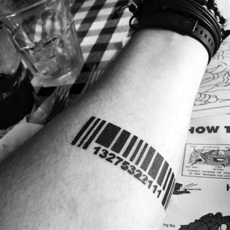 barcode tattoo with date 30 barcode tattoo designs for men parallel line ink ideas