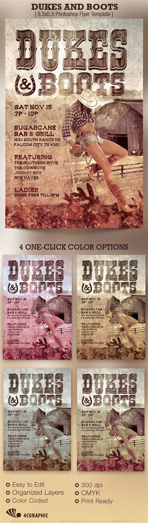 Dukes And Boots Country Flyer Template Graphicriver Boot C Flyer Template
