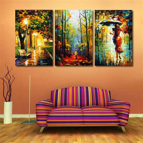 painting decor aliexpress com buy 3 pieces walking in the rain hand painted landscape city bench night modern