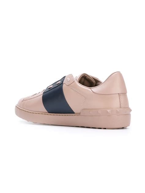 mens pink sneakers valentino open leather low top sneakers in pink for lyst