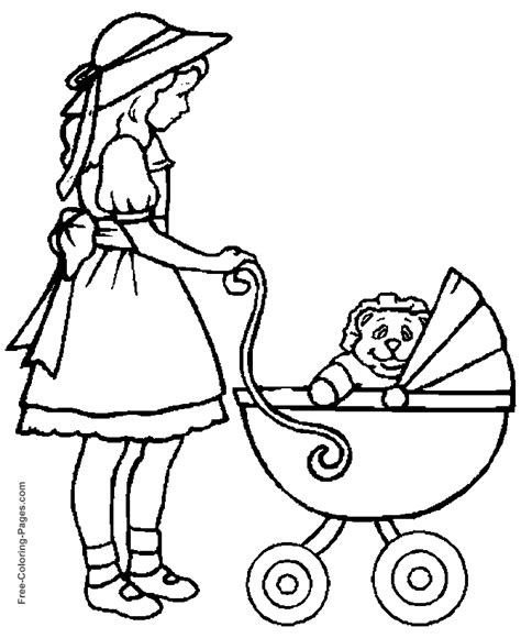 kids coloring pages girl and baby carriage