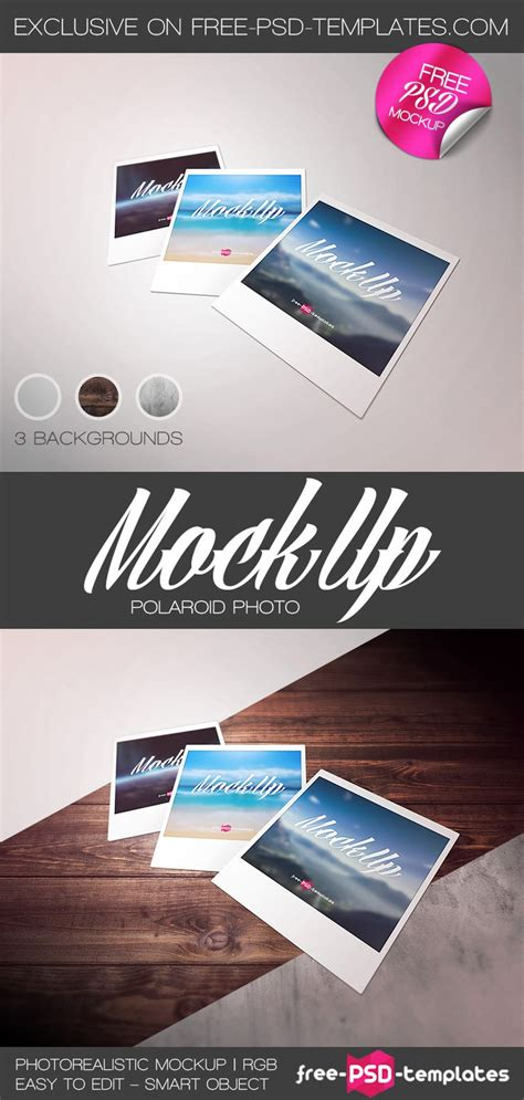 Free Polaroid Photo Mockup Psd Free Psd Templates Free Photoshop Mockup Psd Polaroid Mockup Templates For Photoshop