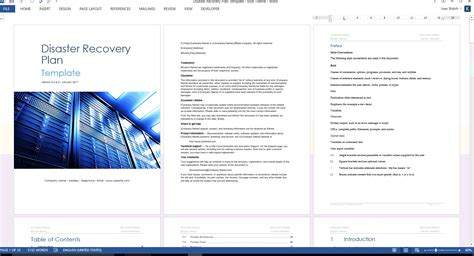 disaster recovery procedures template disaster recovery plan template ms word excel