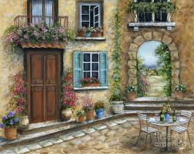 Paris Wall Mural romantic tuscan courtyard painting by marilyn dunlap