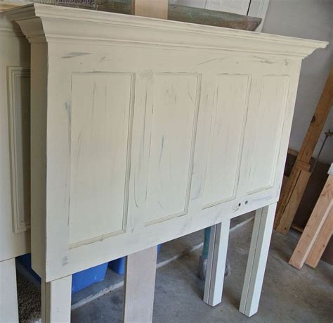 Headboards From Doors Popcorn White 4 Panel Door Headboard With Gray Distressing Applied Door Headboards