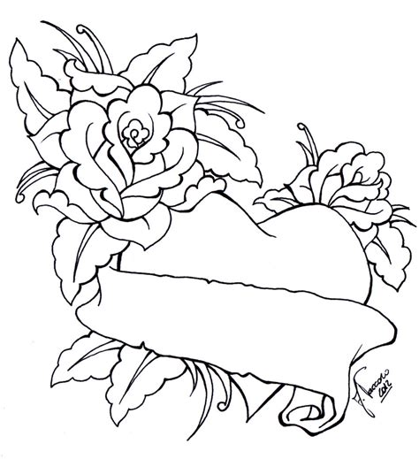 heart tattoo designs with banner drawings of hearts with banners cliparts co