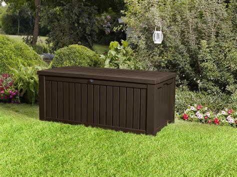 keter rockwood storage box dark brown wood effect