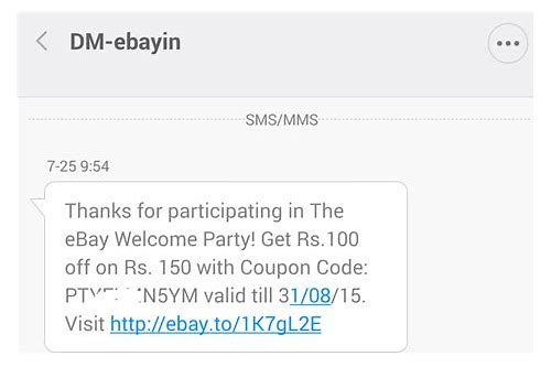 ebay india 100 rs. coupon