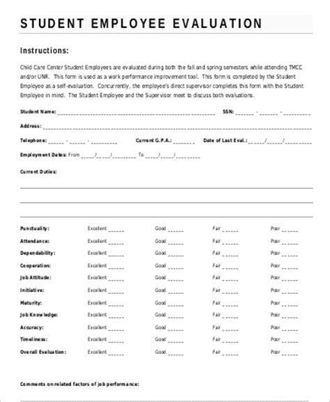 student self evaluation templates sle employee self evaluation form 8 exles in word