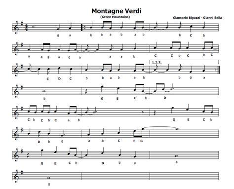 sei ottavi testo musica e spartiti gratis per flauto dolce montagne verdi