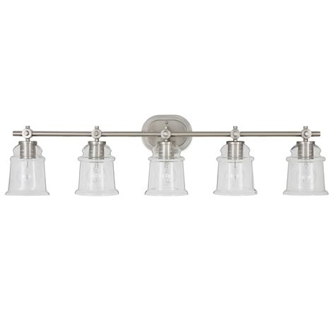 5 light bathroom fixtures shop allen roth winsbrell 5 light 9 25 in brushed nickel