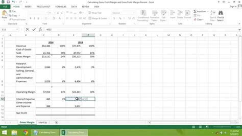 margin calculator excel template excel 2013 tutorial how to calculate gross profit margin