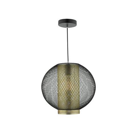 Dar Lighting Niello Single Light Ceiling Pendant In Black Black And Gold Ceiling Light
