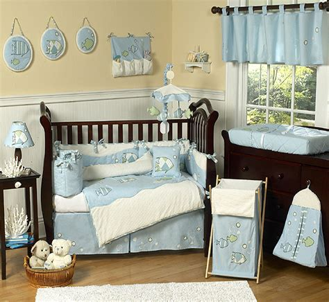 Boys Crib Set by Designer Blue White Sea Fish Theme 9pc Baby Boy Crib