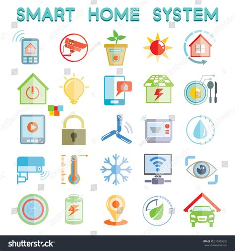 smart home system icons home automation icons set stock