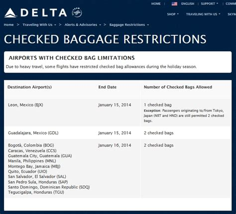 delta bag fees airline baggage limit gdl rules