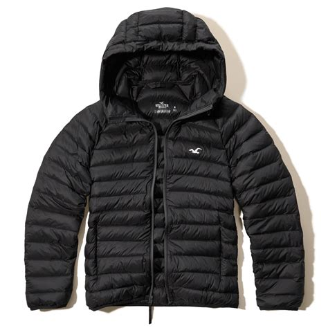 Promo Jaket Denim Hoodie Black Garment Murah hollister lightweight puffer jacket in black for lyst