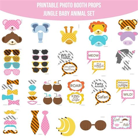 instant download animal print photo booth props safari 17 best images about jungle party on pinterest jungle