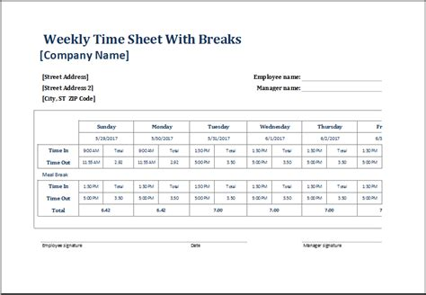 time card calculator with lunch break infocard co