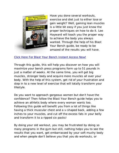 bench press reviews lee hayward blast your bench effective bench press