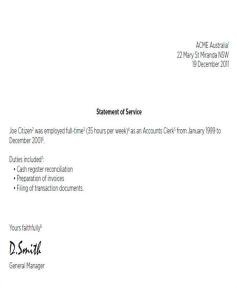 statement of service letter templates 38 service letter formats