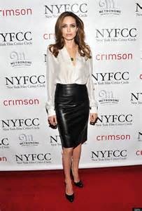 High Street Wedding Dresses 2011 Angelina Jolie In A Skin Tight Leather Skirt Look Of The Day Huffpost
