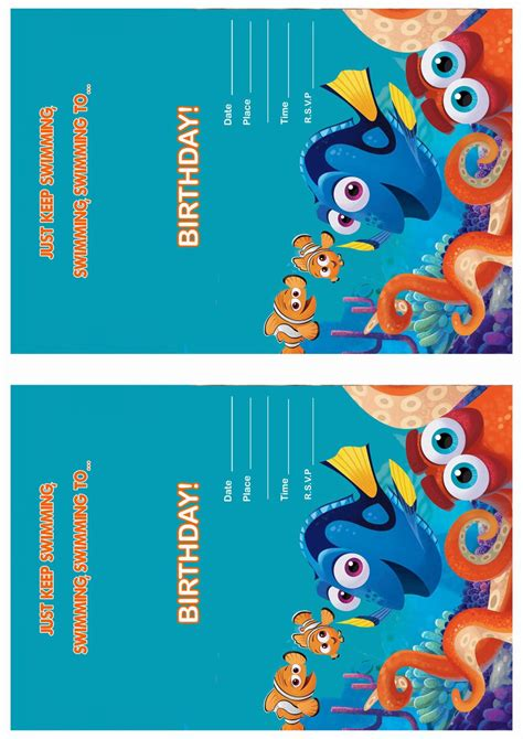 printable nemo birthday invitations finding dory birthday invitations birthday printable
