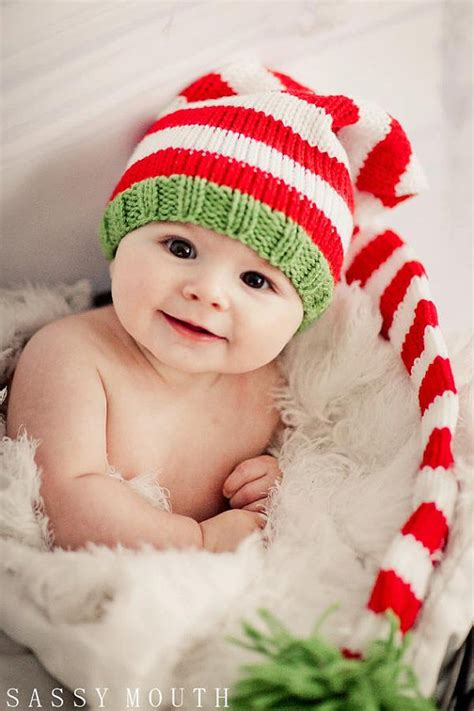 knit baby hat christmas long stocking cap elf newborn