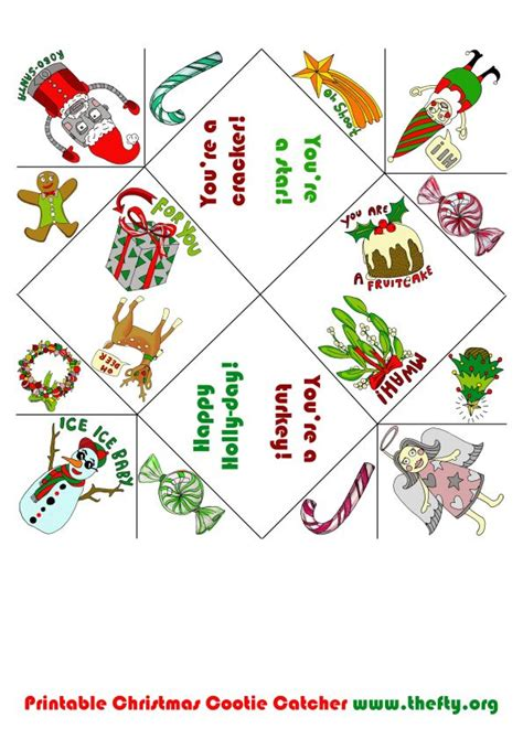 printable christmas fortune teller cootie catcher thefty