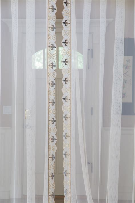 valance with sheer curtains sheer valance curtain set bleu fleur de lis trim