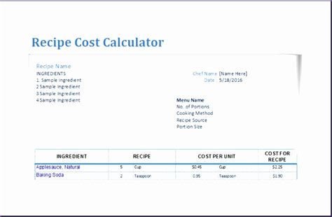 Recipe Cost Card Template Excel by 9 Recipe Cost Calculator Exceltemplates Exceltemplates